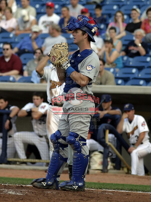 May 12, 2004:  Jared Price of the Columbus Catfish, South Atlantic League (low-A) affiliate of the Los Angeles Dodgers, during a game at Classic Park in Eastlake, OH.  Photo by:  Mike Janes/Four Seam Images