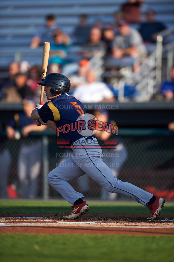 State College Spikes outfielder Michael Pritchard (5) at bat during a game against the Auburn Doubledays on July 6, 2015 at Falcon Park in Auburn, New York.  State College defeated Auburn 9-7.  (Mike Janes/Four Seam Images)