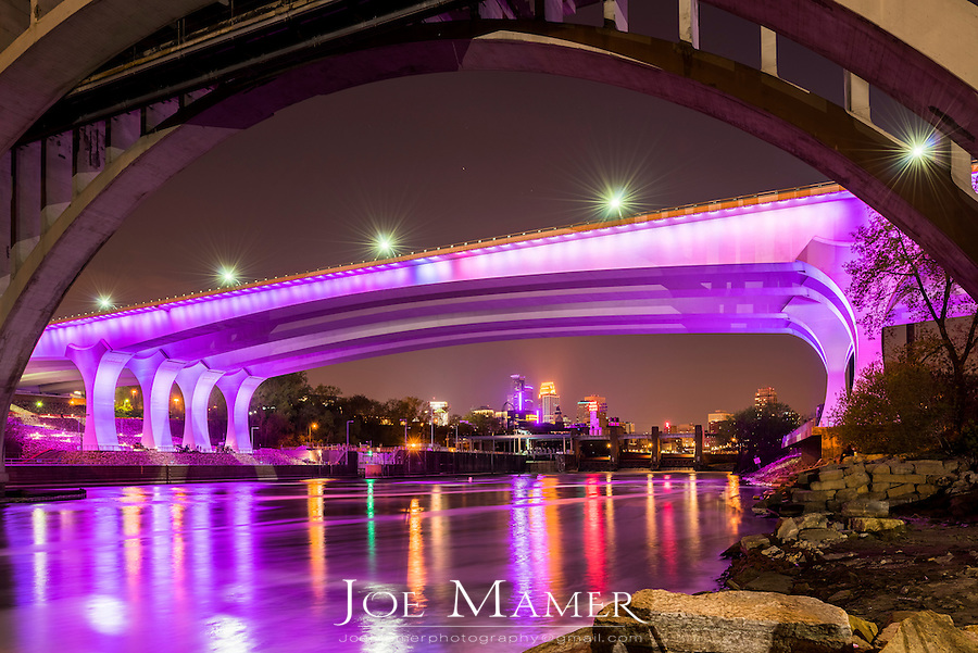 Minneapolis in purple mourning the passing of the musical artist Prince.