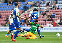 Preston North End's Sean Maguire is brought down by Wigan Athletic's Reece James<br /> <br /> Photographer David Shipman/CameraSport<br /> <br /> The EFL Sky Bet Championship - Wigan Athletic v Preston North End - Monday 22nd April 2019 - DW Stadium - Wigan<br /> <br /> World Copyright © 2019 CameraSport. All rights reserved. 43 Linden Ave. Countesthorpe. Leicester. England. LE8 5PG - Tel: +44 (0) 116 277 4147 - admin@camerasport.com - www.camerasport.com