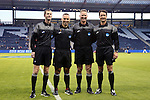 11 December 2015: Match officials (from left): Assistant Referee Cory Richardson, Fourth Official Chris Penso, Referee Mark Gorak, and Assistant Referee Ian Anderson. The Clemson University Tigers played the Syracuse University Orange at Sporting Park in Kansas City, Kansas in a 2015 NCAA Division I Men's College Cup Semifinal match. The game ended in a 0-0 tie after overtime; Clemson advanced to the Final by winning the penalty kick shootout 4-1.