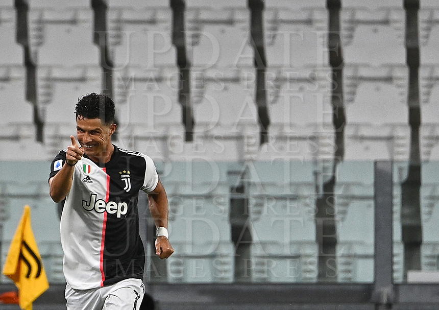 Calcio, Serie A: Juventus - Lazio, Allianz Stadium, July 20, 2020.<br /> Juventus' Cristiano Ronaldo celebrates after scoring  during the Italian Serie A football match between Juventus and Lazio at the Allianz stadium in Turin, July 20, 2020.<br /> UPDATE IMAGES PRESS/Isabella Bonotto