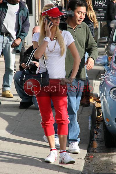 Paris Hilton and model photo shoot for Fila, in Venice, California, on January 28, 2007.