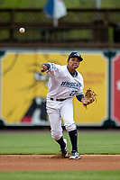 West Michigan Whitecaps shortstop Wenceel Perez (27) makes a throw to first base against the Bowling Green Hot Rods on May 21, 2019 at Fifth Third Ballpark in Grand Rapids, Michigan. The Whitecaps defeated the Hot Rods 4-3.  (Andrew Woolley/Four Seam Images)