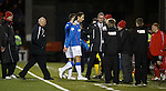 Rangers security chief David Martin leads Bilel Mohsni away at the end of the match as Gary Bollan walks behind
