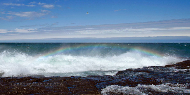 Lake Superior, sea spray, rainbow, black rocks, Marquette MI
