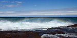 Lake Superior, sea spray, rainbow, black rocks, Marquette MI