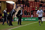 Middlesbrough 1 Preston North End 1, 22/01/2011. Riverside Stadium, Championship. Middlesbrough FC's manager Tony Mowbray and his opposite number Phil Brown of Preston North End watching the action from the touchline in an Npower Championship fixture at the Riverside Stadium. The match ended in a one-all draw watched by a crowd of 16,157. Middlesbrough relocated from their former home at Ayresome Park in 1995. Photo by Colin McPherson.