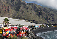ESP, Spanien, Kanarische Inseln, La Palma, Playa del Remo: abseits gelegener Strand an der Westkueste, einfaches Restaurant | ESP, Spain, Canary Islands, La Palma, Playa del Remo: beach at west coast, restaurant