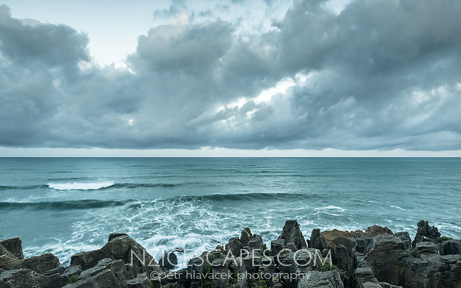 Moody coastal scene in Punakaiki, Paparoa National Park, Buller Region, West Coast, New Zealand, NZ