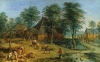 Jan Brueghel II, 1601-1678. Cour de ferme. Louvre. Reference only.