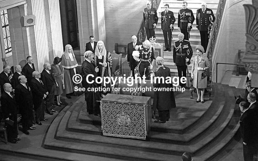 Lord Grey of Naunton, accompanied by Lady Grey, arrives in the Great Hall, Parliament Buildings, Belfast, N Ireland, for the state opening of the new parliamentary session. 196903040100c<br />
