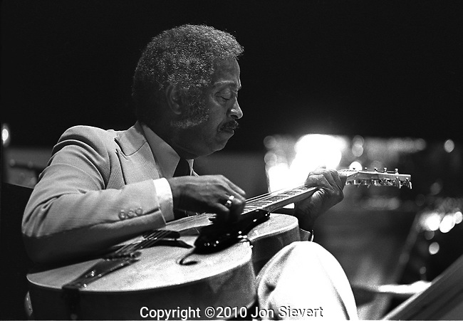 "Freddie Green, Monterey Jazz Festival, Sept 16, 1977, 31-19-28A. American swing jazz guitarist. He was especially noted for his sophisticated rhythm guitar in big band settings, particularly for the Count Basie orchestra, where he was part of the ""All-American Rhythm Section"" with Basie on piano, Jo Jones on drums, and Walter Page on bass."