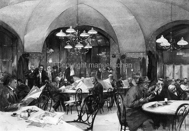 Interior of a cafe in Vienna with men drinking coffee and reading newspapers, c. 1850, painting. Copyright © Collection Particuliere Tropmi / Manuel Cohen