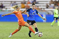 Houston, TX - Sunday August 13, 2017:  Rachel Daly and Yael Averbuch during a regular season National Women's Soccer League (NWSL) match between the Houston Dash and FC Kansas City at BBVA Compass Stadium.