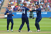 Jamie Porter of Essex is congratulated by his team mates after taking the wicket of Jack Taylor during Gloucestershire vs Essex Eagles, NatWest T20 Blast Cricket at The Brightside Ground on 13th August 2017