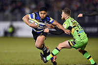 Ben Tapuai of Bath Rugby looks to get past Rob Horne of Northampton Saints. Aviva Premiership match, between Bath Rugby and Northampton Saints on February 9, 2018 at the Recreation Ground in Bath, England. Photo by: Patrick Khachfe / Onside Images