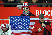 VIENNA, Austria - November 19, 2013: Supporters of team USA during the international friendly match between Austria and the USA at Ernst-Happel-Stadium.