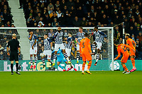 3rd March 2020; The Hawthorns, West Bromwich, West Midlands, England; English FA Cup Football, West Bromwich Albion versus Newcastle United; The West Bromwich Albion wall jumps to block a free kick