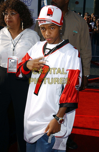 LIL BOW WOW.3rd Annual BET Awards (Black Entertainment Television) held at the Kodak Theatre, Hollywood.www.capitalpictures.com.sales@capitalpictures.com.©Capital Pictures..half length, half-length, gangster wear, pointing