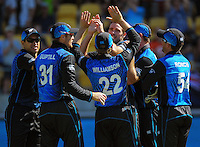 Tim Southee celebrates dismissing James Taylor during the ICC Cricket World Cup one day pool match between the New Zealand Black Caps and England at Wellington Regional Stadium, Wellington, New Zealand on Friday, 20 February 2015. Photo: Dave Lintott / lintottphoto.co.nz
