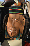 MY 5, 2013 - Hempstead, New York, USA - Artist Richard Hillman, of Roslyn Heights, is a vandor selling this leather sculture of man's face and head, at 30th Annual Dutch Festival celebrating Hofsta University's Global Campus, with spotlight on Portugal and India.