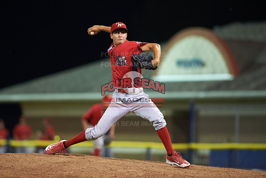 Williamsport Crosscutters pitcher Kenny Koplove (3) delivers a pitch during a game against the Batavia Muckdogs on August 29, 2015 at Dwyer Stadium in Batavia, New York.  Williamsport defeated Batavia 7-3.  (Mike Janes/Four Seam Images)