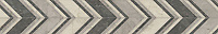 """6 7/8"""" Vero border, a hand-cut stone mosaic, shown in honed Bianco Antico, Cavern, and Palomar, is part of the Semplice® collection for New Ravenna."""
