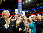 New York Delegates cheer as Edward F. Cox, Jr, Chairman, New York Republican State Committee, reports the votes of his state to the 2012 Republican National Convention in Tampa Bay, Florida on Tuesday, August 28, 2012.  .Credit: Ron Sachs / CNP.(RESTRICTION: NO New York or New Jersey Newspapers or newspapers within a 75 mile radius of New York City)