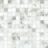 """Gridded 2"""", a hand-cut stone mosaic, shown in polished Calacatta."""