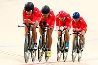 Picture by Alex Whitehead/SWpix.com - 09/12/2017 - Cycling - UCI Track Cycling World Cup Santiago - Velódromo de Peñalolén, Santiago, Chile - China's Xiaofei Wang, Qiaolin Chen, Jin Chenhong compete in the Women's Team Pursuit bronze medal final.