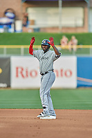 Franmil Reyes (7) of the El Paso Chihuahuas bats in action against the Salt Lake Bees at Smith's Ballpark on July 5, 2018 in Salt Lake City, Utah. El Paso defeated Salt Lake 3-2. (Stephen Smith/Four Seam Images)