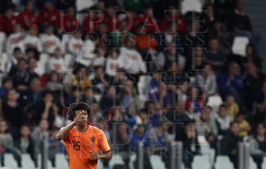 International friendly football match Italy vs The Netherlands, Allianz Stadium, Turin, Italy, June 4, 2018. <br /> Netherlands' Nathan Ak&eacute; (c) celebrates after scoring during the international friendly football match between Italy and The Netherlands at the Allianz Stadium in Turin on June 4, 2018.<br /> UPDATE IMAGES PRESS/Isabella Bonotto