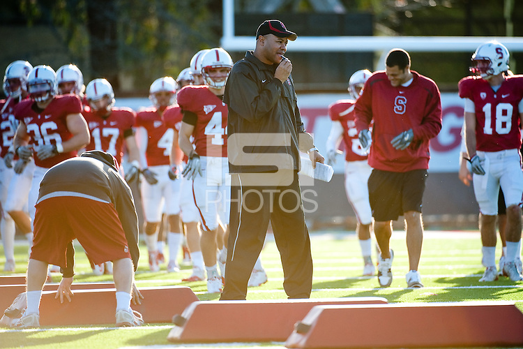 STANFORD, CA - MARCH 1, 2011: Head Coach David Shaw during Spring Practice on March 1, 2011 in Stanford, California.