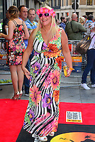 Vanessa Feltz<br /> The &quot;Bula Quo!&quot; UK film premiere, Odeon West End cinema, Leicester Square, London, England.<br /> July 1st, 2013<br /> full length white black pink purple floral print stripe dress headband flowers sunglasses shades <br /> CAP/BF<br /> &copy;Bob Fidgeon/Capital Pictures