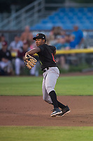 Great Falls Voyagers third baseman Bryce Bush (8) prepares to make a throw to first base during a Pioneer League game against the Idaho Falls Chukars at Melaleuca Field on August 18, 2018 in Idaho Falls, Idaho. The Idaho Falls Chukars defeated the Great Falls Voyagers by a score of 6-5. (Zachary Lucy/Four Seam Images)