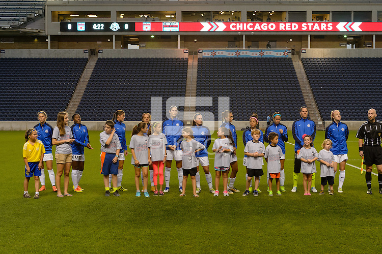Chicago, IL - Wednesday Sept. 07, 2016: FC Kansas City Starting XI, player escorts prior to a regular season National Women's Soccer League (NWSL) match between the Chicago Red Stars and FC Kansas City at Toyota Park.