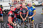 Brian Sheehan (Glenbeigh) Robert Shanahan (Castleisland) Sean Kelly Aidan Moynihan (Tralee), pictured at the Tour De Munster cycle in aid of Down Syndrome Ireland on Friday evening last.