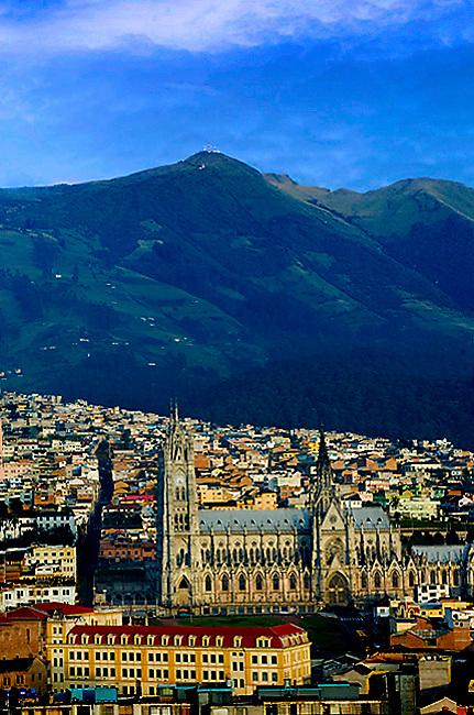 Basilica del Voto Nacional in Quito, Ecuador, surrounded by the Andes Mountains.