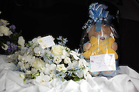 Pictured:  Flowers and tributes for baby Sion at Thornhill Cemetery, Cardiff, Wales, UK. Tuesday 28 June 2016<br /> Re: The funeral of Sion, the baby boy found dead in the River Taff in Cardiff has taken place<br /> Generous locals raised nearly &pound;1,400 for the memorial after reading about plans to hold a fitting ceremony for the newborn baby whose body was discovered in Cardiff a year ago.<br /> The funeral took place at the Briwnant Chapel at Thornhill Crematorium, Cardiff. Members of the public are invited to be among the congregation.