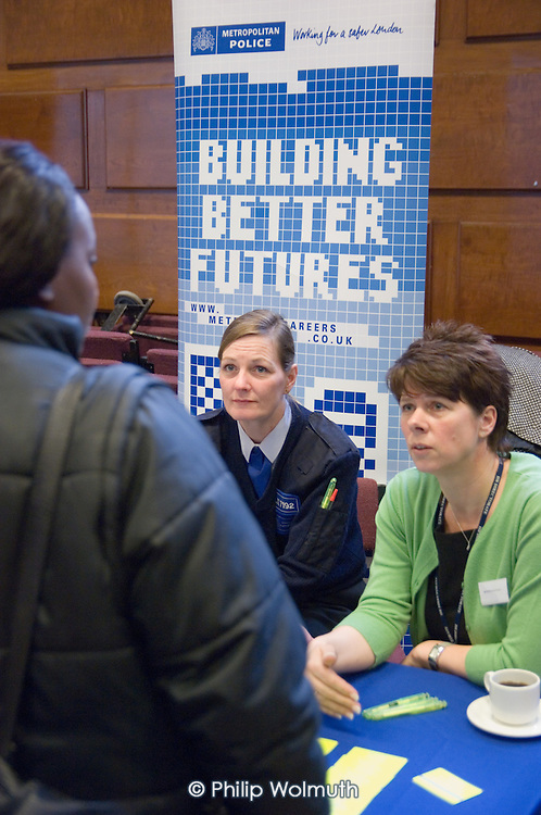 Metropolitan Police information stall at Jobs Fair, Brixton Town Hall
