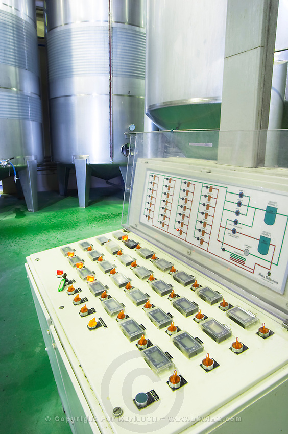Fermentation tanks. Control panel. Vallformosa, Vilobi, Penedes, Catalonia, Spain