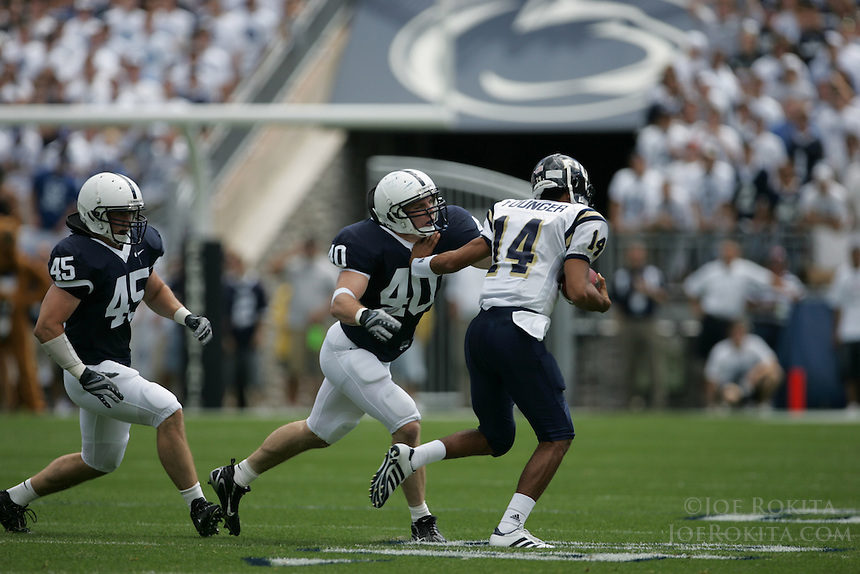 State College, PA -- 09/1/2007 -- Penn State linebacker Dan Connor (40, followed by Sean Lee, 45) pursues Florida International quarterback Wayne Younger during the home opener on Saturday, September 1, 2007, at Beaver Stadium.  Penn State defeated the Golden Panthers by a score of 59-0.  Photo:  Joe Rokita / JoeRokita.com..Photos ©2007 Joe Rokita Photography..
