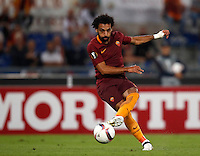 Calcio, Europa League: Roma vs Astra Giurgiu. Roma, stadio Olimpico, 29 settembre 2016.<br /> Roma&rsquo;s Mohamed Salah in action during the Europa League Group E soccer match between Roma and Astra Giurgiu at Rome's Olympic stadium, 29 September 2016. Roma won 4-0.<br /> UPDATE IMAGES PRESS/Isabella Bonotto