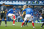 Unlucky old Francisco Sandaza smacks the ball off the backside of Berwick's Damien Gielty and it falls to Andy Little to score the opener