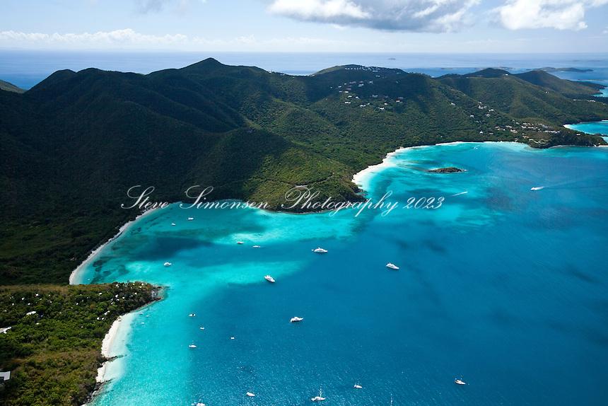 Aerial view of Francis Bay and Maho Bay.Virgin Islands National Park.St. John.U.S. Virgin Islands