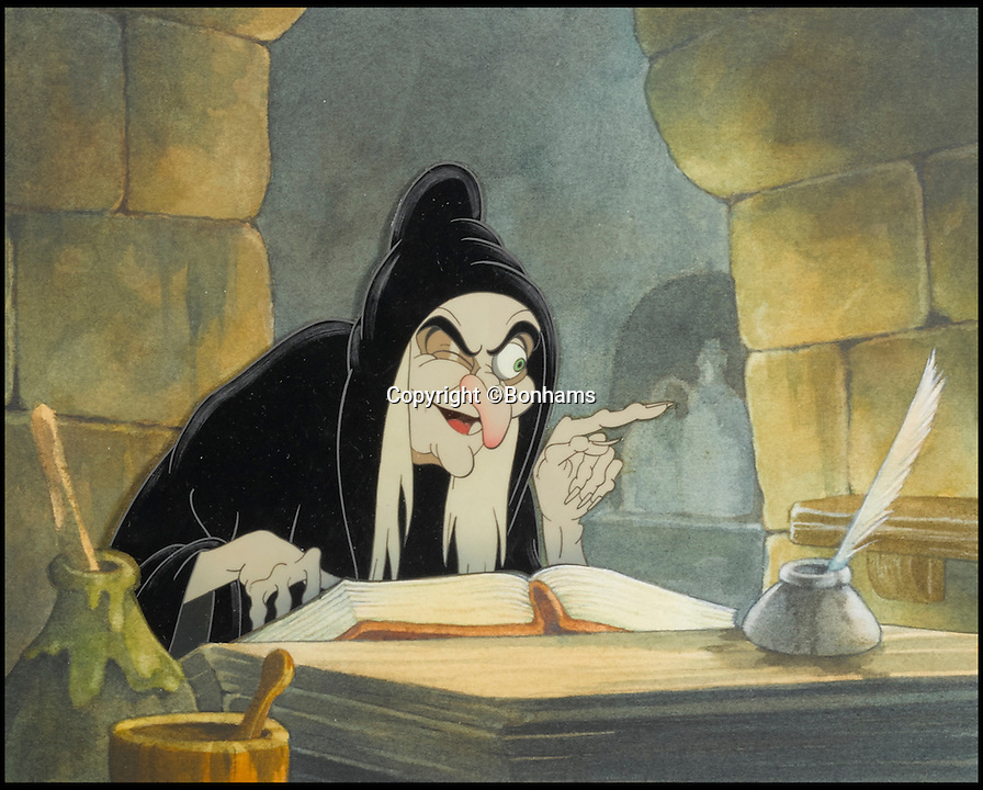 BNPS.co.uk (01202 558833)<br /> Pic: Bonhams/BNPS<br /> <br /> A celluloid of the Old Hag from Snow White and the Seven Dwarfs sold for &pound;5,074.<br /> <br /> The sale of original art work from Snow White has revealed that dwarfs dubiously named Tubby, Baldy and Deafy only just missed out on making the final cut.<br /> <br /> The offensively-named trio were considered by the famous producer of animated films in the run up to the classic 1937 movie.<br /> <br /> Now 32 pieces of Snow White art work, including sketches of the dwarfs which were withdrawn from production, have come to light to reveal the dubious names which would be considered very un-PC today.