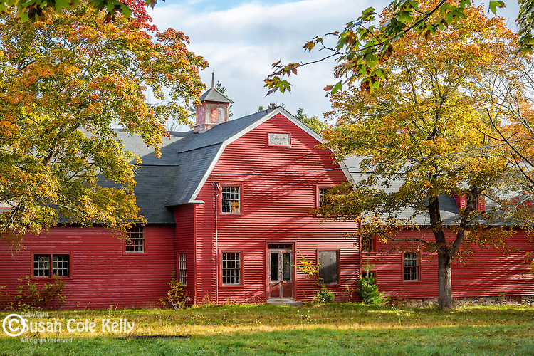 Red barn and foliage at Hamilton Station in Bar Harbor, Maine, USA