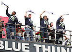 Former Seattle Seahawks  wave towels before the game against the Oakland Raiders at CenturyLink Field in Seattle, Washington on November 2, 2014.  The Seahawks beat the Raiders 30-24 in Seattle. ©2014. Jim Bryant Photo. All rights Reserved.