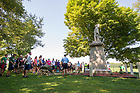August 23, 2017; ND Trail day 10: Pilgrims stop at the Chief Menominee Monument south of Plymouth. The statue commemorates the start of the Potawatomi Trail of Death.  (Photo by Matt Cashore/University of Notre Dame)